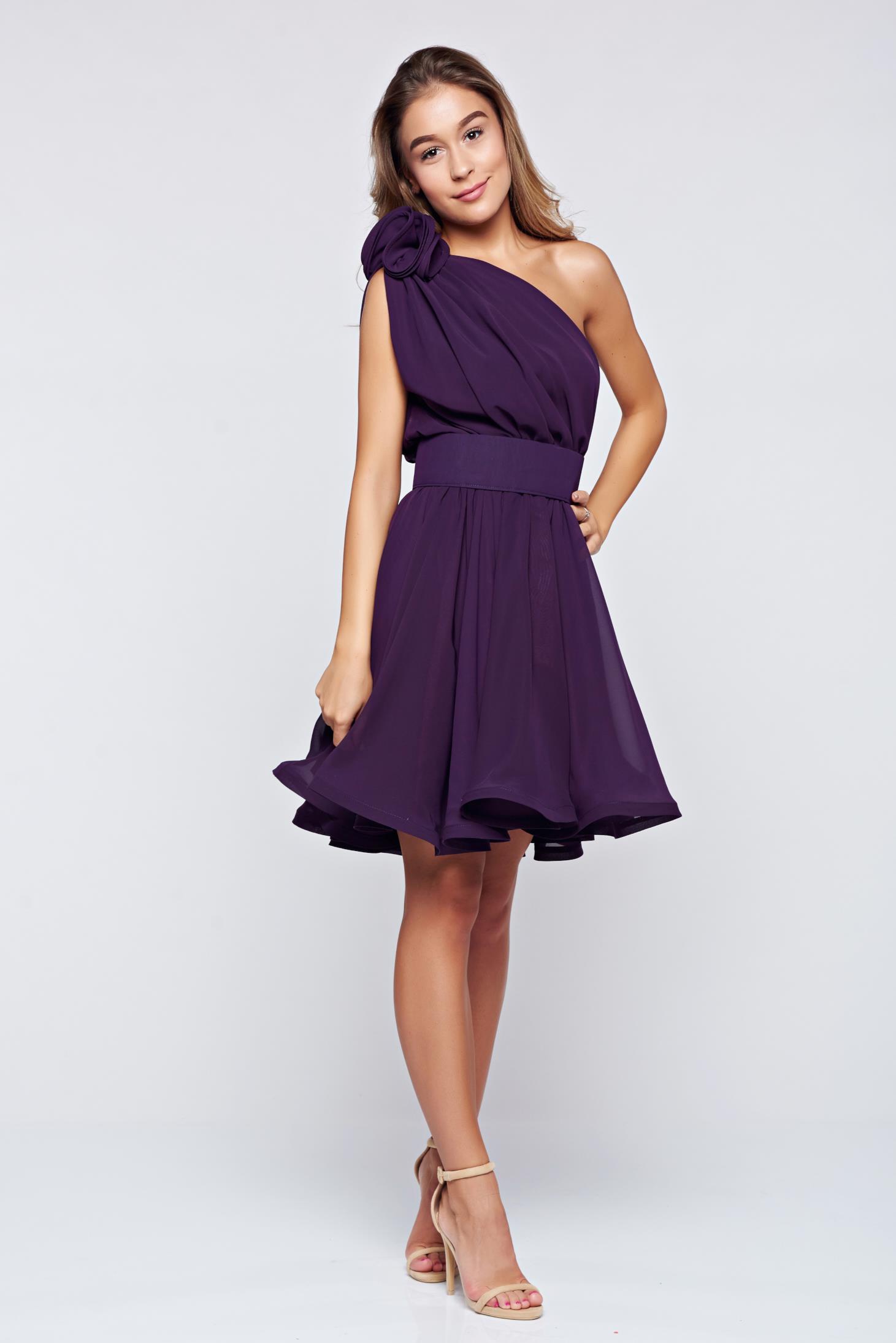 Ana Radu occasional purple one shoulder cloche dress