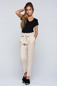 PrettyGirl cream casual cotton trousers with pockets