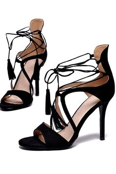 Top Secret black sandals occasional ribbon fastening