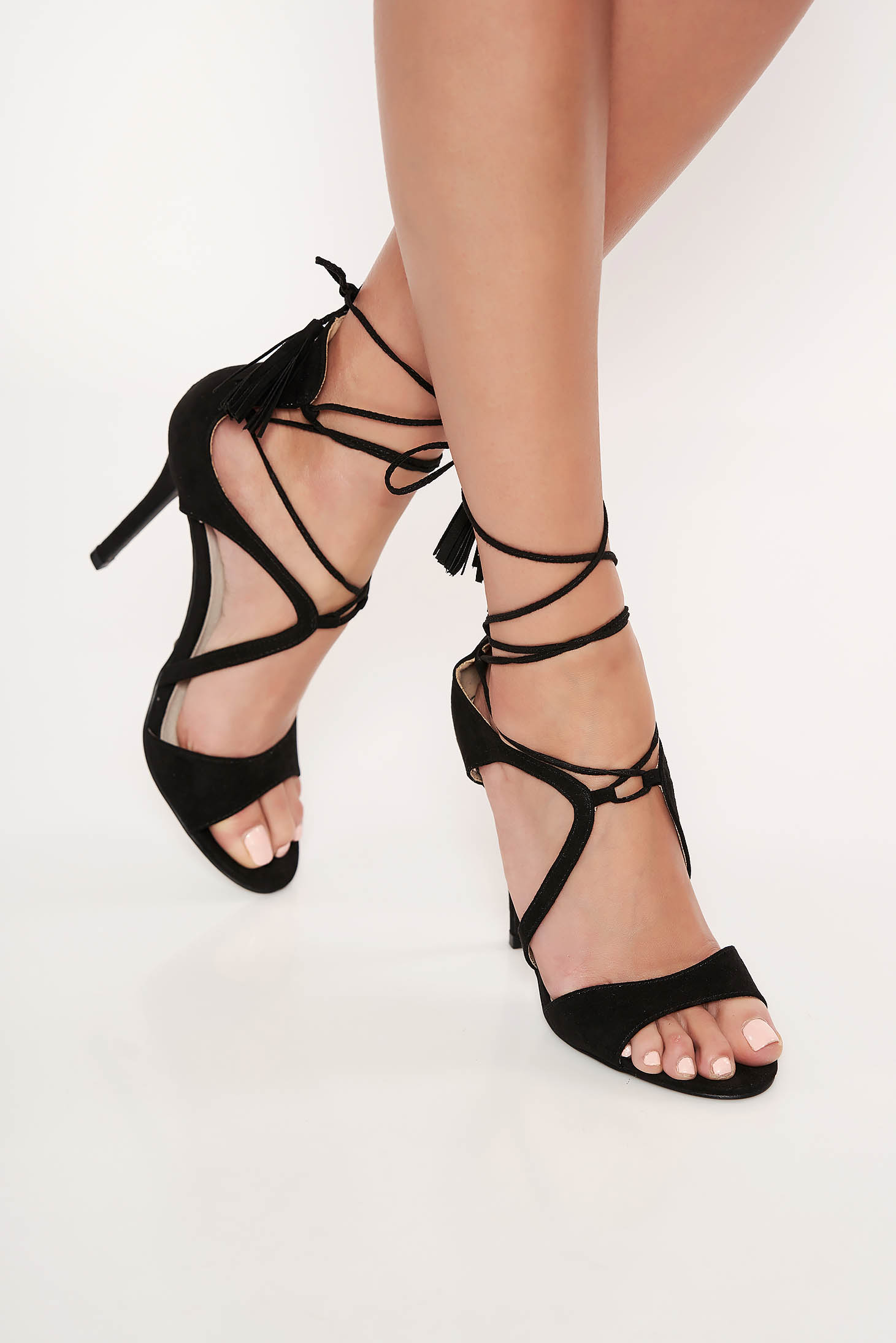 Top Secret black occasional sandals ribbon fastening