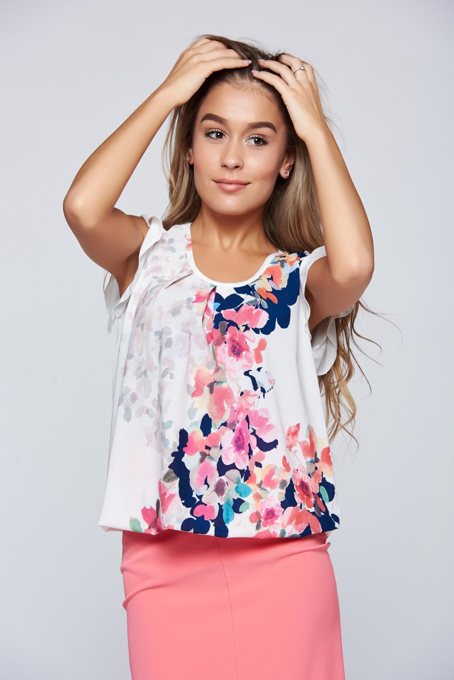 Bluza dama LaDonna alba eleganta cu elastic in talie cu imprimeu floral