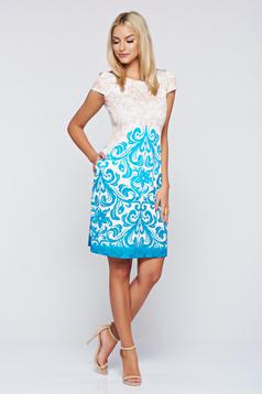 Fofy elegant turquoise easy cut dress with pockets