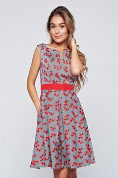 Fofy red cloche sleeveless dress with pockets