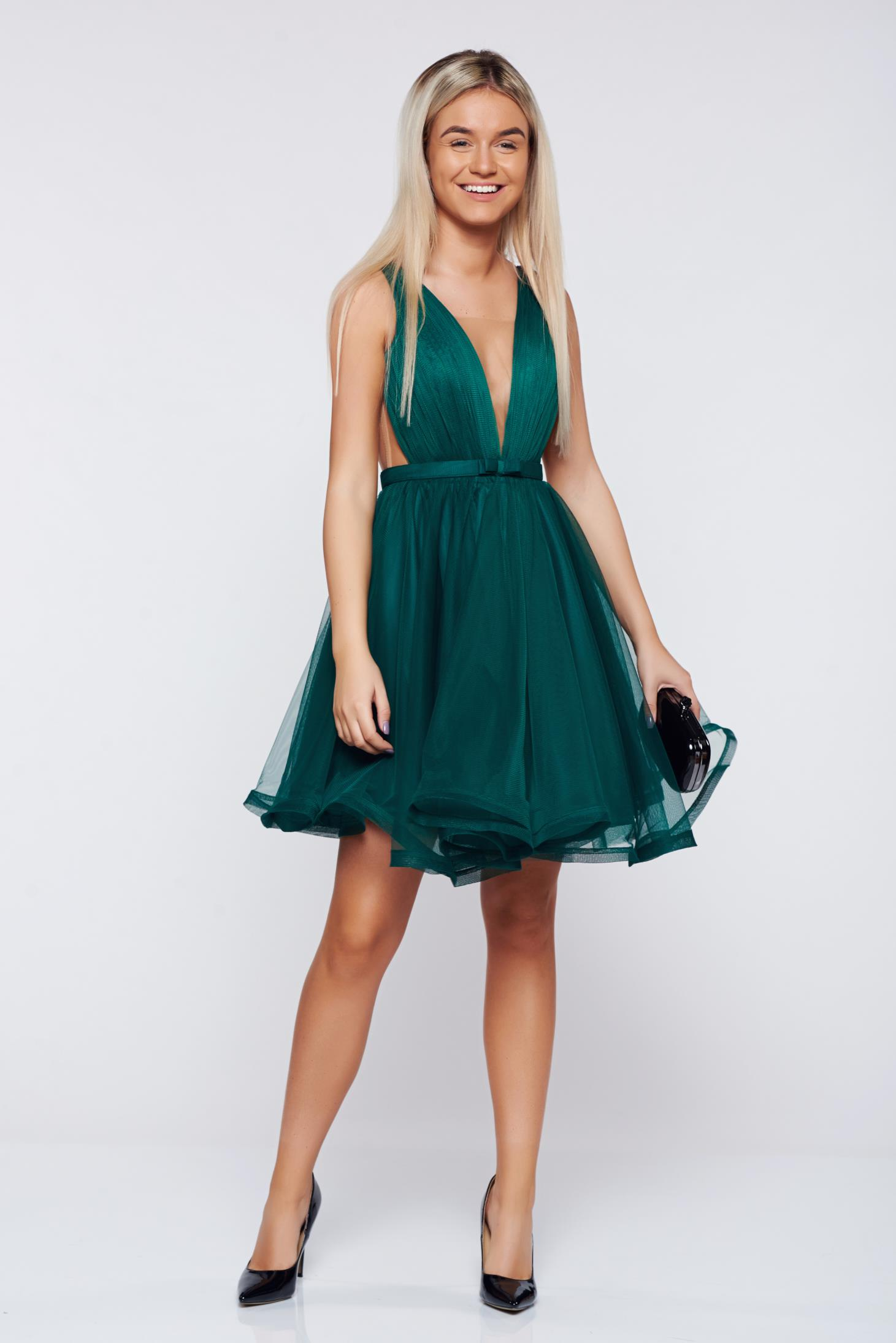 Ana Radu cloche darkgreen luxurious dress with a cleavage from tulle with inside lining accessorized with tied waistband