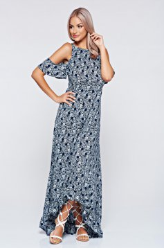 Long StarShinerS both shoulders cut out blue airy fabric dress