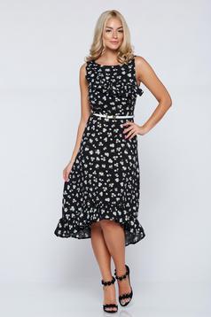 Black cloche StarShinerS asymmetrical cotton dress