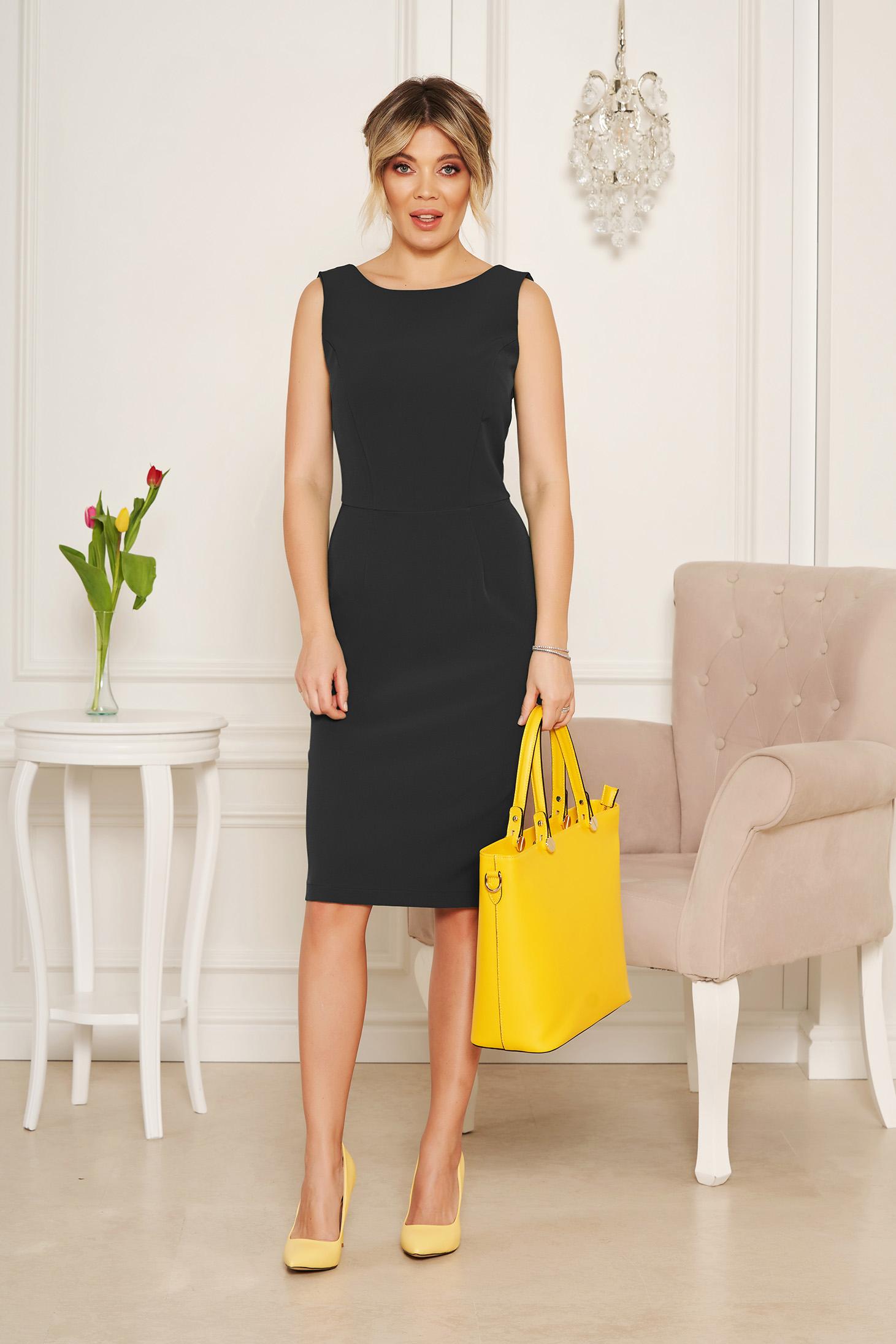 Rochie StarShinerS neagra eleganta midi tip creion din stofa elastica cu spatele decupat