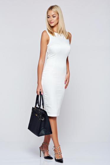 StarShinerS basic white pencil cut back dress
