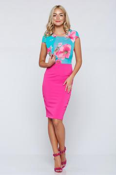 StarShinerS elegant fuchsia pencil dress with short sleeve