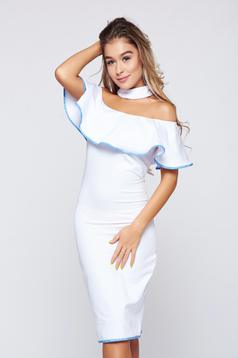 Ocassion on the shoulders white casual pencil dress