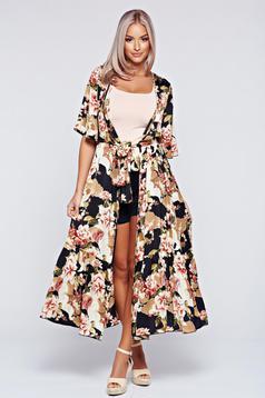 Festival look by PrettyGirl black easy cut kimono dress from airy fabric