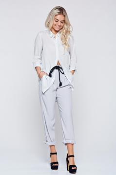 Festival look by PrettyGirl grey casual easy cut trousers with pockets