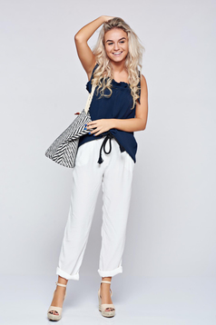 Festival look by PrettyGirl white casual easy cut trousers with pockets