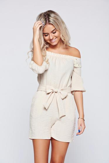 PrettyGirl nude linen jumpsuit with pockets and pearl embellished details