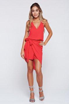 PrettyGirl red voile fabric sleeveless jumpsuit