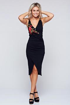 Ioana grama by StarShinerS black wrap around dress with embroidery details