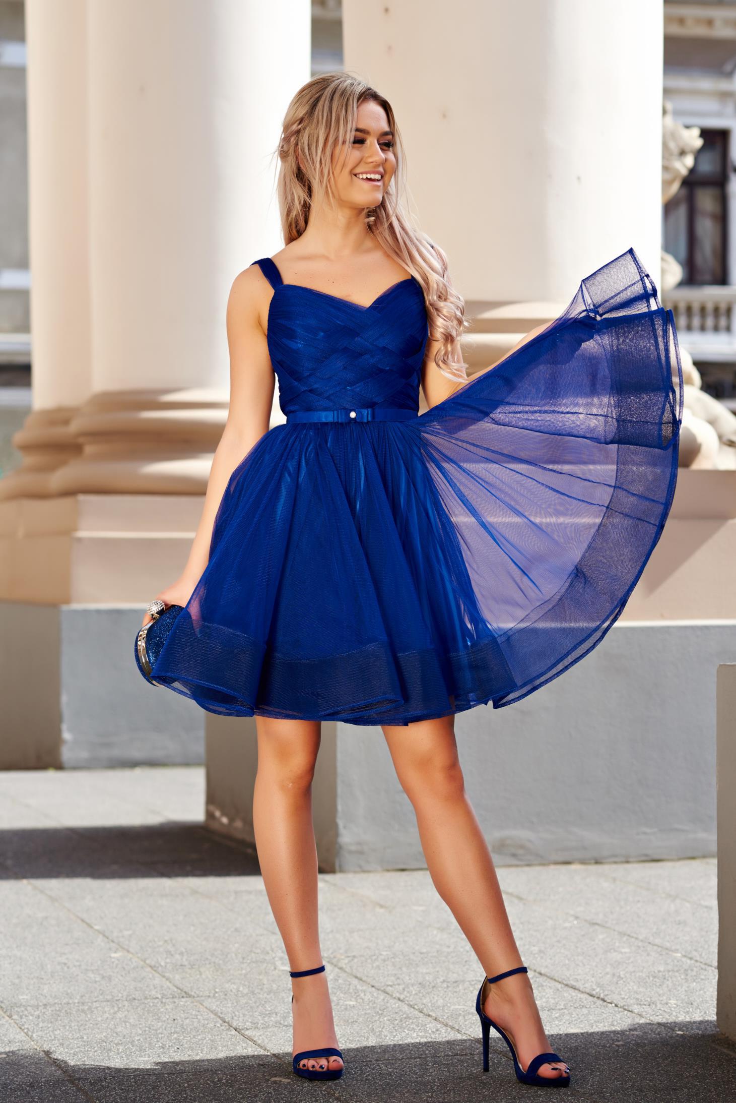 Rochie Ana Radu albastra de lux in clos tip corset din tul captusita pe interior
