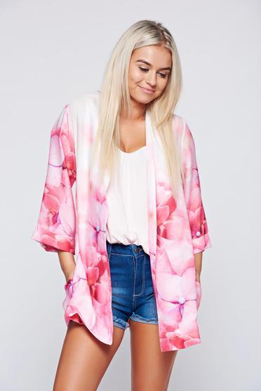 Festival look by PrettyGirl pink easy cut short jacket