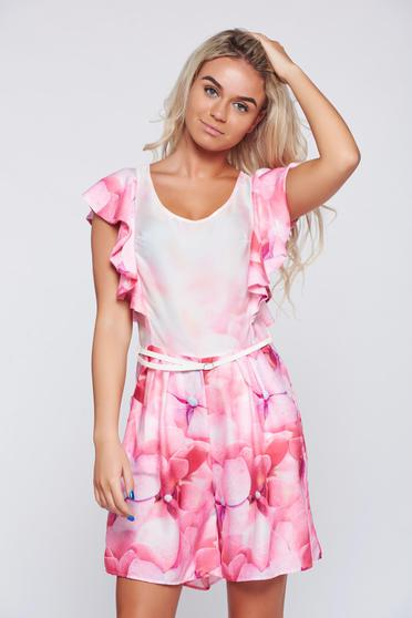Festival look by PrettyGirl pink airy fabric jumpsuit with ruffles on the chest