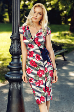 Fofy red pencil dress short sleeve