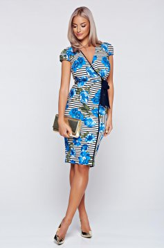 Fofy blue pencil dress with short sleeve