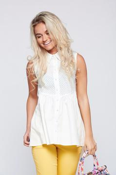 PrettyGirl white sleeveless cotton women`s shirt