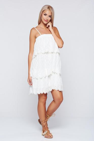 PrettyGirl nude airy fabric dress with ruffle details