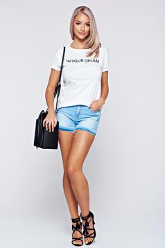 Top Secret lightblue cotton casual short