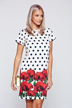 Fofy red easy cut dress with short sleeve