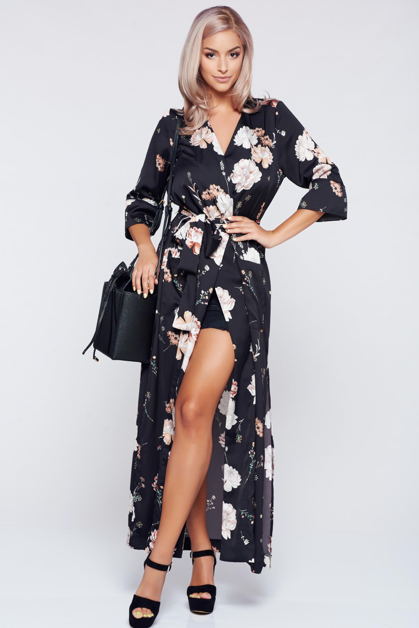 prettygirl black flared kimono dress accessorized with tied waistband