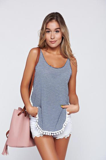 PrettyGirl darkblue casual top shirt with tassels and airy fabric