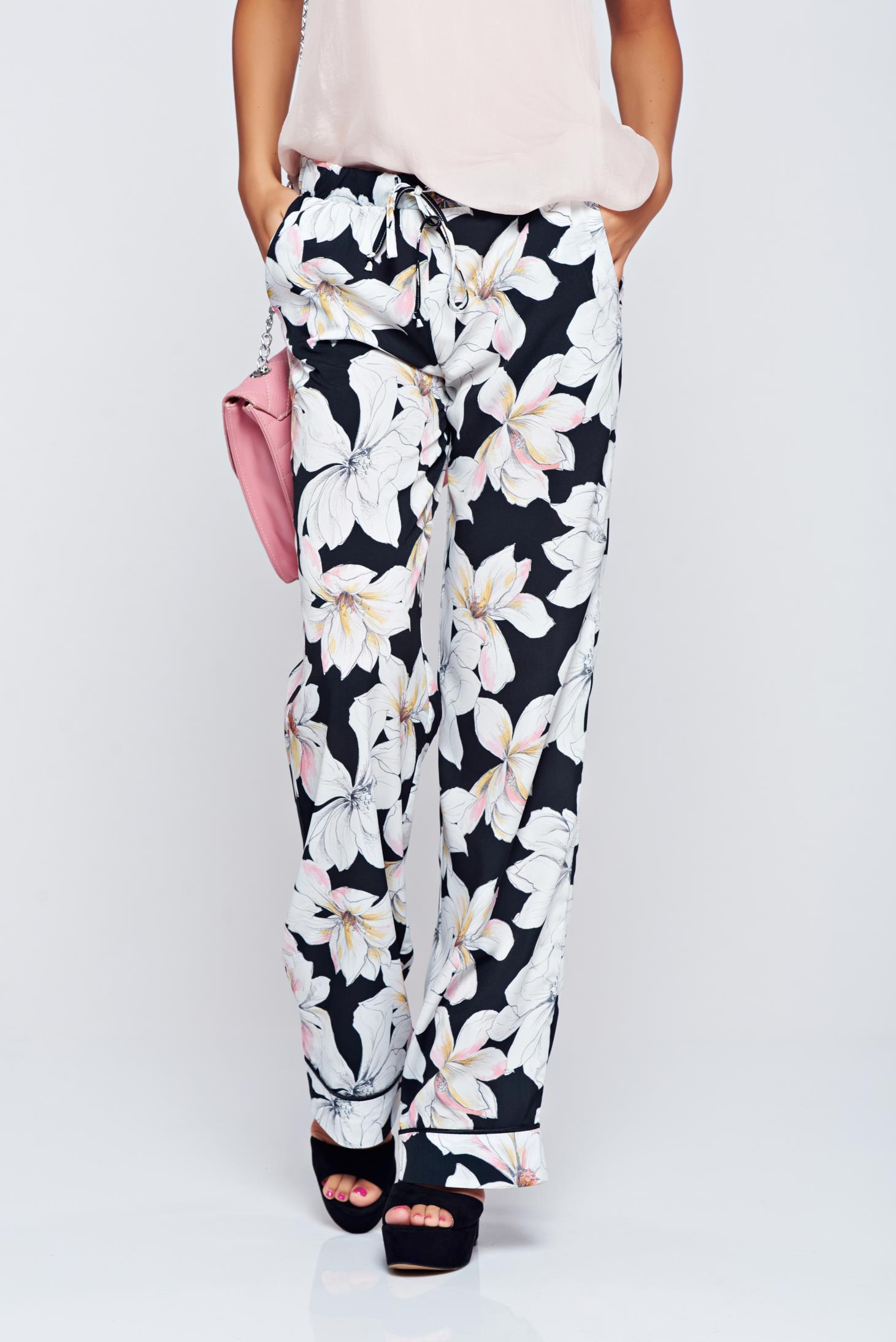 Pantaloni Festival Look by PrettyGirl galbeni cu imprimeuri florale cu buzunare