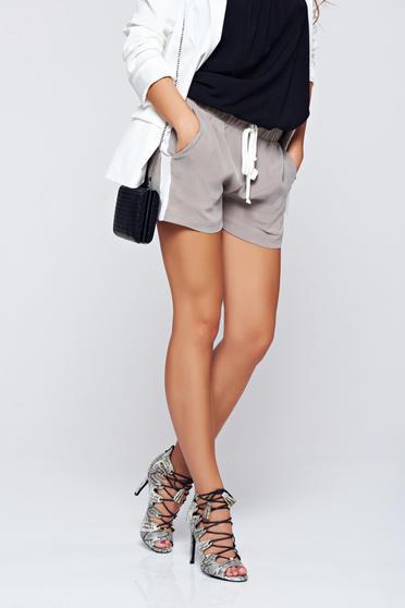 PrettyGirl grey casual short with pockets elastic waist
