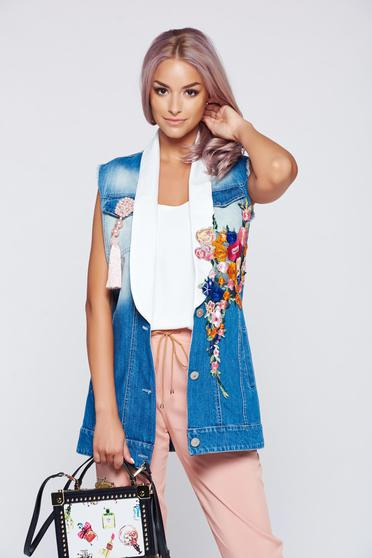 Ocassion blue casual embroidered gilet