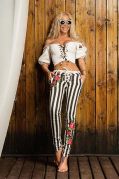 Ocassion black trousers stripes conical embroidered