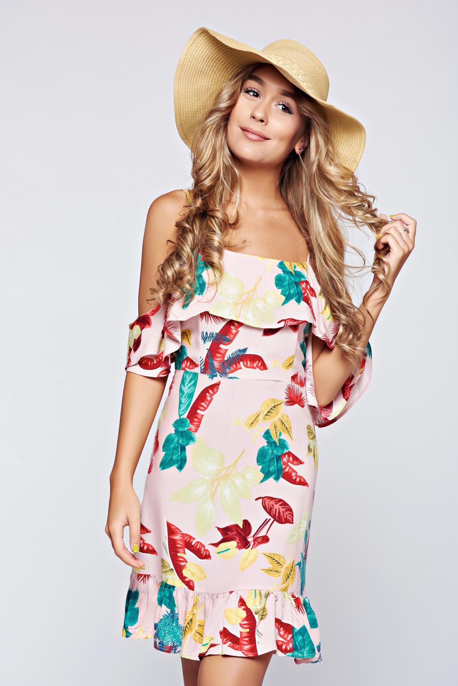 Pink Top Secret hétköznapi váll nélküli fodros ruha 734331c300