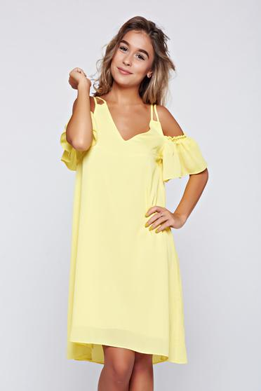 Top Secret yellow off shoulder flared dress with ruffle details