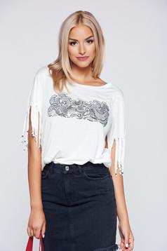Top Secret white casual easy cut top shirt with fringes