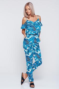Top Secret blue casual jumpsuit with both shoulders cut out