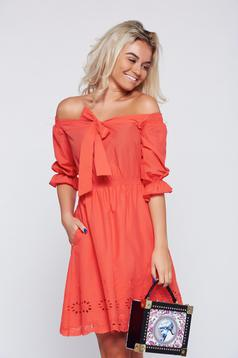 LaDonna coral casual flared dress elastic waist