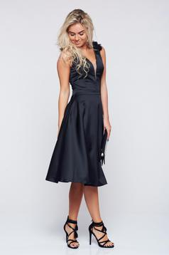 LaDonna occasional black cloche dress with satin fabric texture