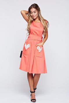 LaDonna cloche coral cotton embroidered dress