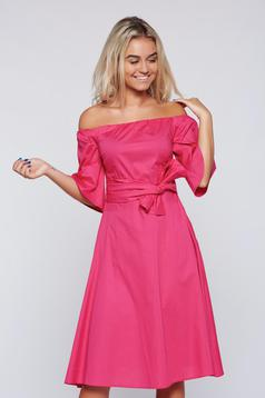 LaDonna fuchsia on the shoulders dress bell sleeve