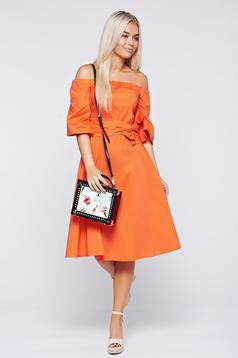 LaDonna coral on the shoulders dress with bell sleeve