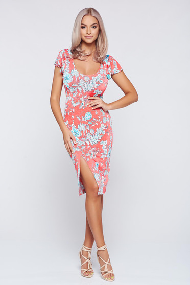 StarShinerS coral pencil dress with floral prints