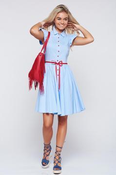 Fofy cloche lightblue dress with ruffled sleeves