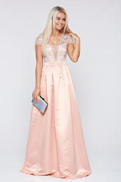 Fofy cloche peach occasional dress with a cleavage