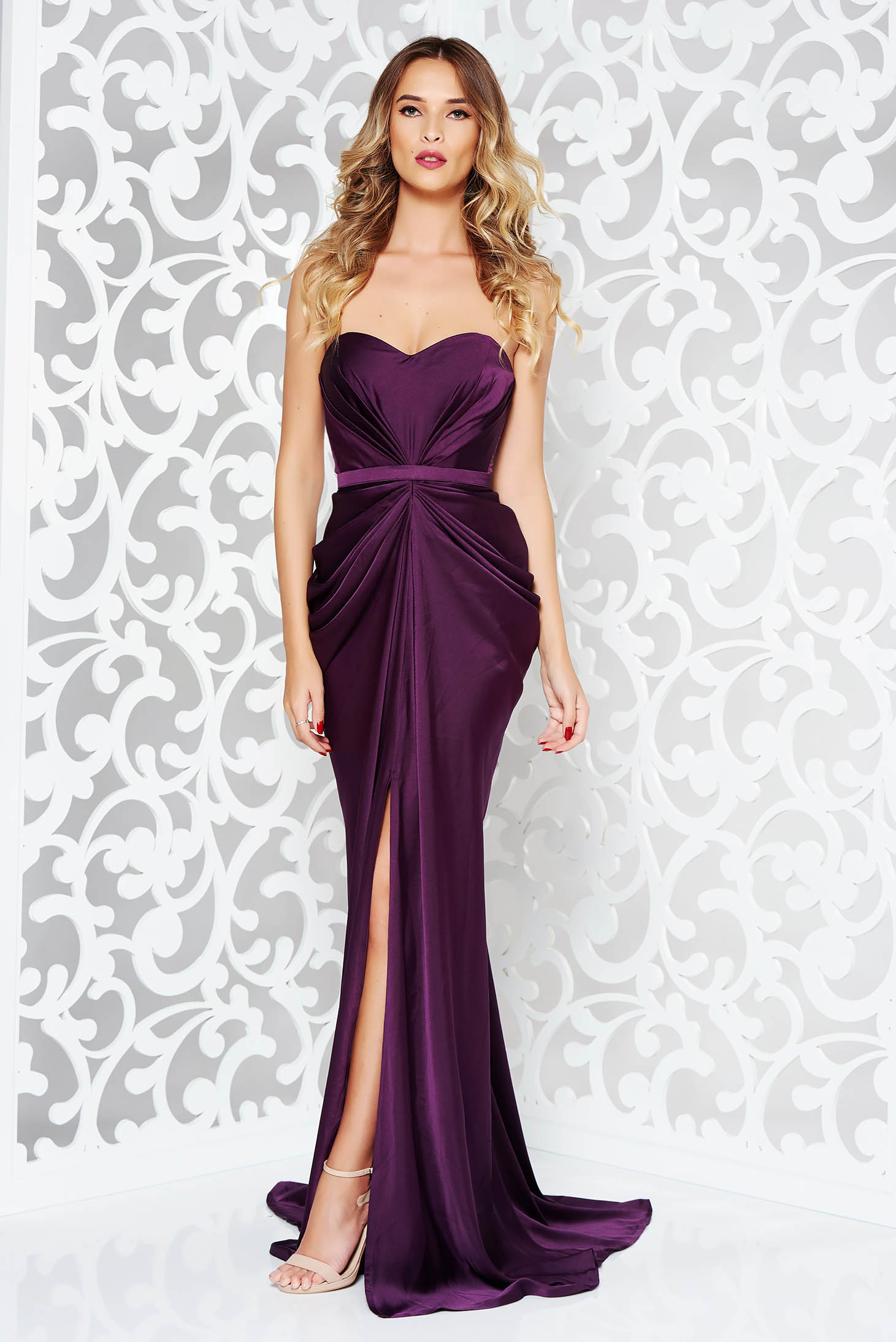 Ana Radu luxurious off shoulder dress from satin fabric texture with push-up bra accessorized with tied waistband purple