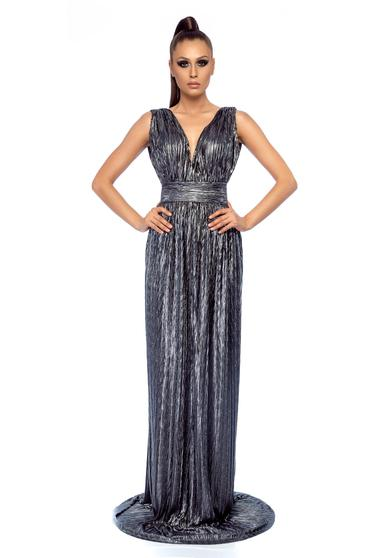 Ana Radu occasional silver metallic aspect dress with a cleavage
