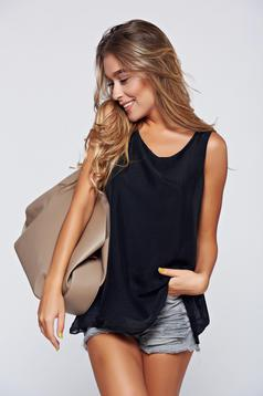 Black voile fabric easy cut top shirt